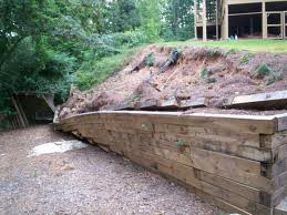 Retaining Walls that are leaning away from the foundation as earth shifts the foundation